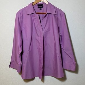 FoxCroft Non-Iron Shaped Fit Button Down Blouse